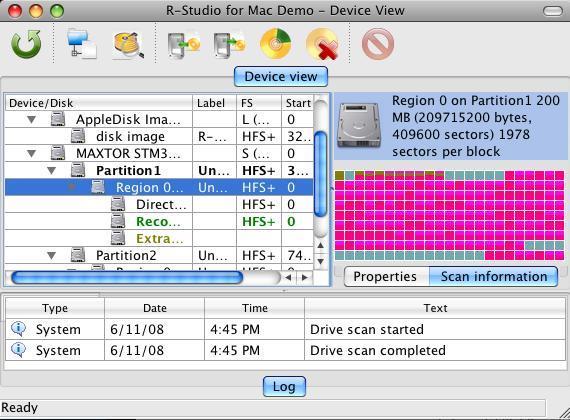 R-Studio for Mac Data Recovery screenshot: Mac recovery, Macintosh data recovery,data recovery software,unformat,unerase,file recovery,file undelete,undelete,recover,recovery,restore,data recovery utility,easy recovery,undelete deleted files
