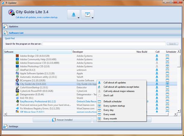 R-Updater screenshot: update software, software updater, software updates, new versions, program updating